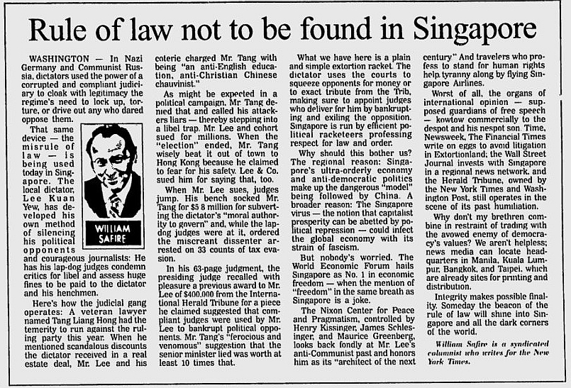 Rule of Law not to be found in Singapore