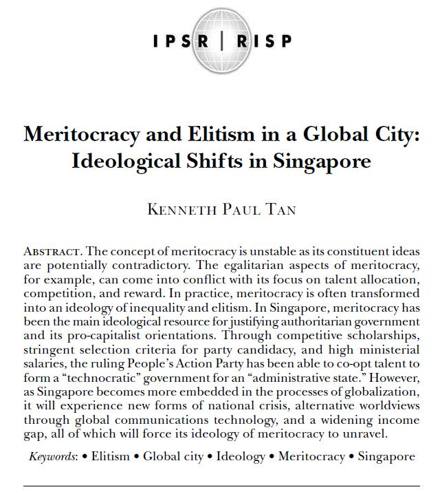"Excerpts from ""Meritocracy and Elitism"""