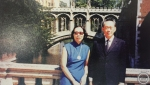 In 1974, when Mr. and Mrs. Lee were back in Cambridge for PM Lee Hsien Loong's convocation. (Pendant in similar gold coin style.)