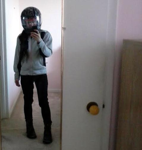 In my petite-sized biking apparel.